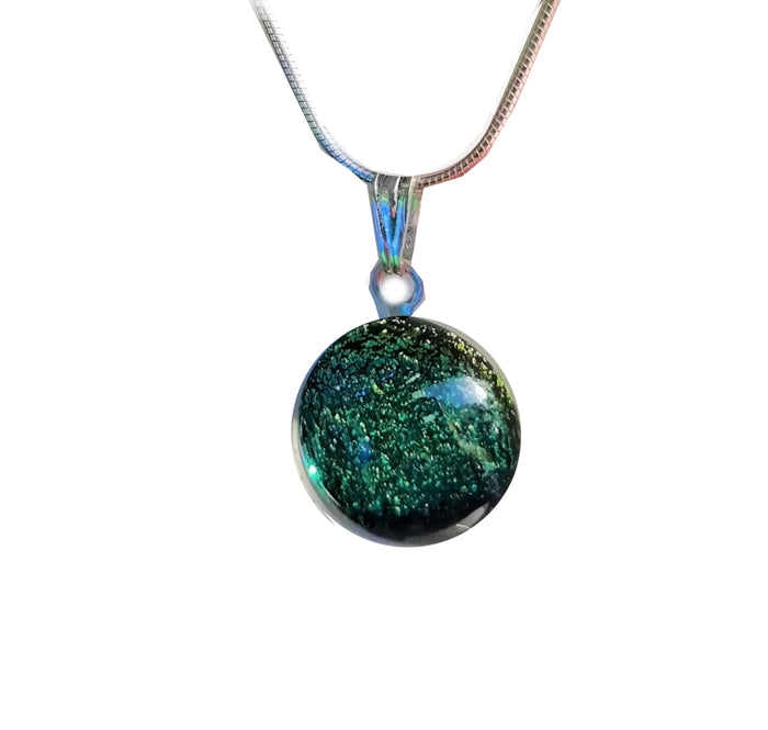 Lime Glass Dichroic Pendant Necklace