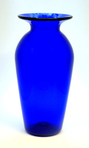 Large Tall Blue Glass Vase