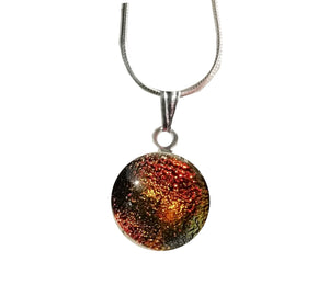 Amber Glass Dichroic Pendant Necklace