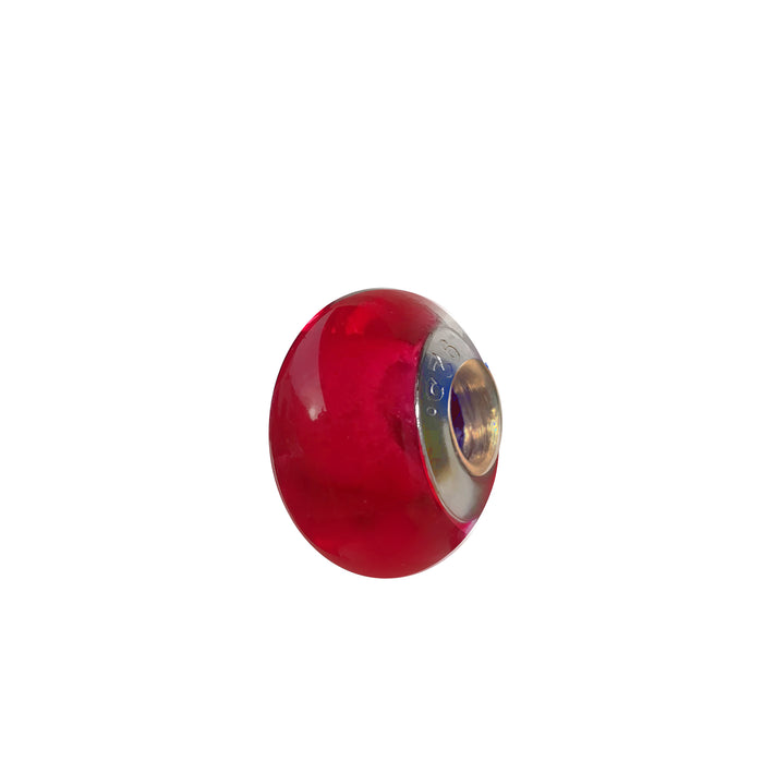 Ruby Glass Charm Bead