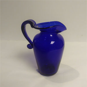 Slight Second Small Tall Blue Glass Jug