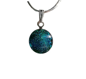 Teal & Green Glass Dichroic Pendant Necklace