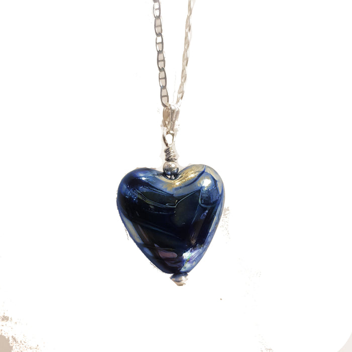 """Aurora"" Blue Heart Pendant Necklace"