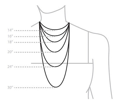 Necklace Chain Lengths Women's Sizing Guide