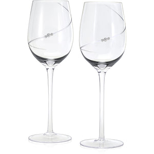 Ribbon Wine Glass Set etched and adorned with Swarovski crystals designed by Nic and Syd Jewelry