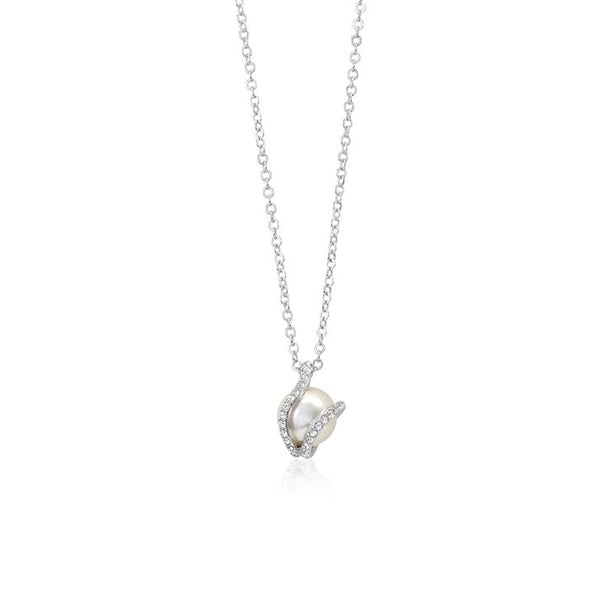 Motherly Love Pearl Pendant. Necklace made with Swarovski crystals designed by Nic and Syd Jewelry
