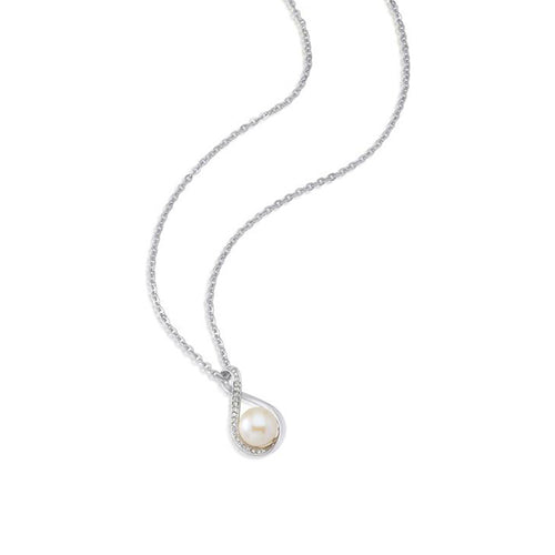 Infinity Pearl Pendant. Necklace made with Swarovski crystals designed by Nic and Syd Jewelry