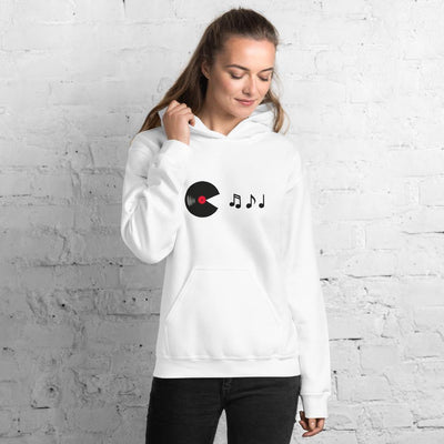 Vinyl Eats Music Notes Sudadera con capucha | Techno Outfit