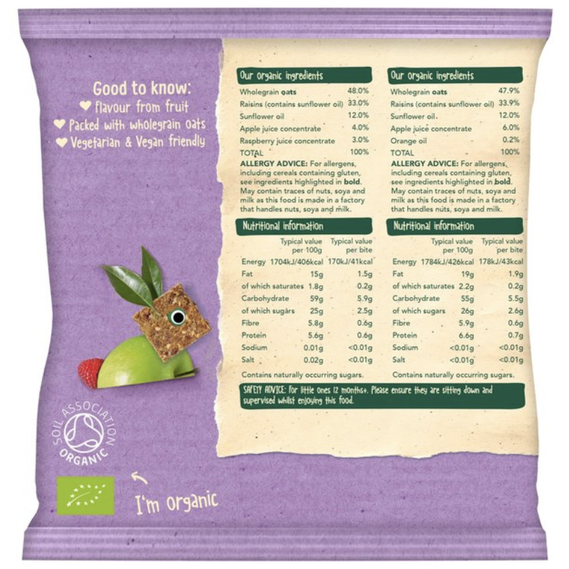 Organix Mini Organic Oaty Toddler Snack Bar Bites (with purchase)