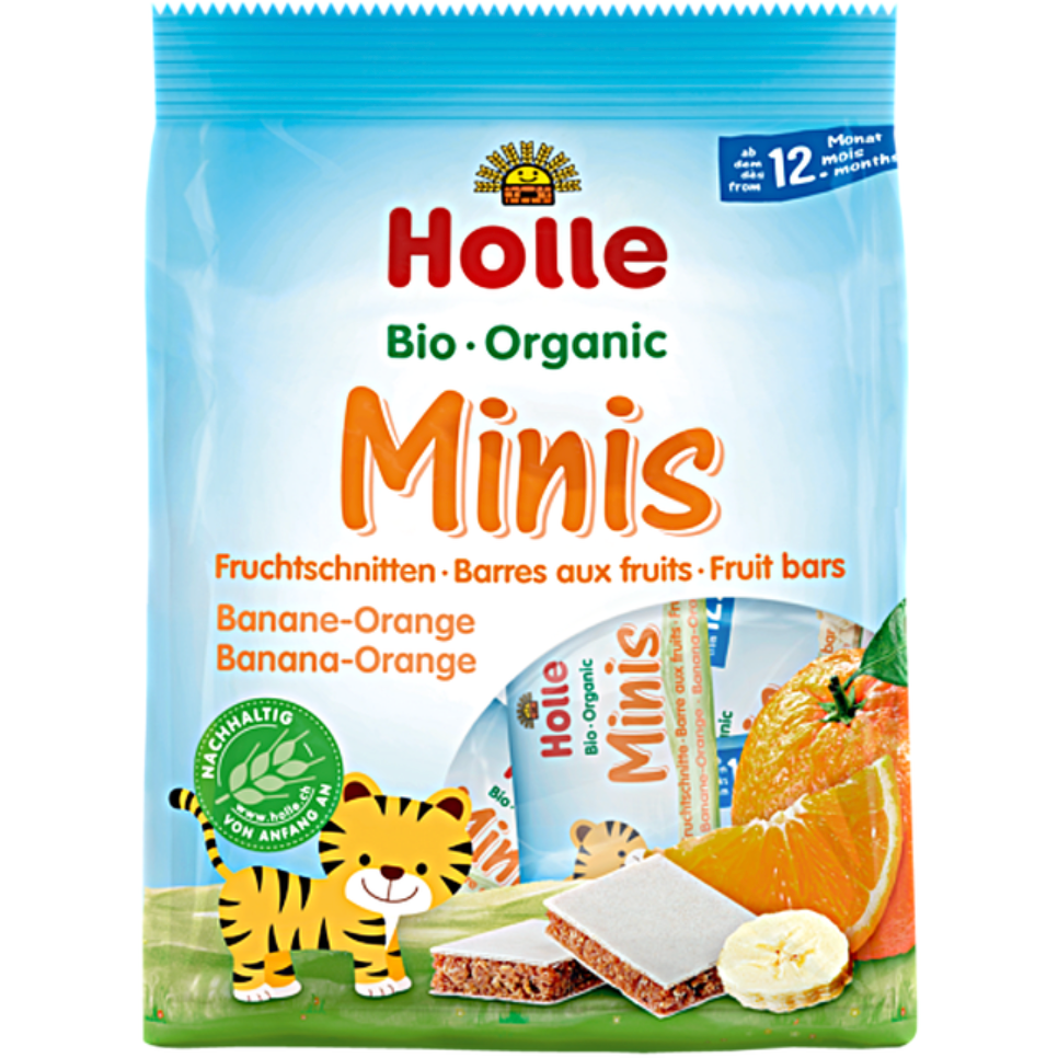 Holle Organic Minis Fruit Bars Banana Orange (with purchase)