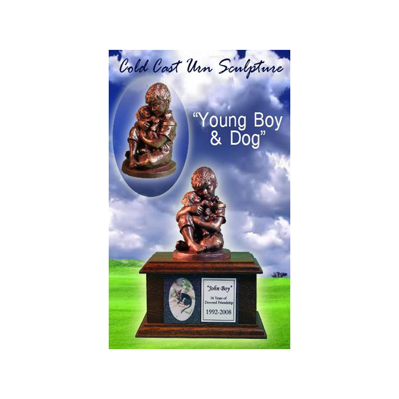 Cold Cast Accessory for Urns - Young Boy and Dog