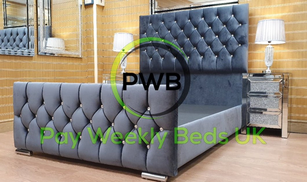 Pay Weekly Beds UK Brianna Tall Velvet Bed Finance Steel Plush Velvet