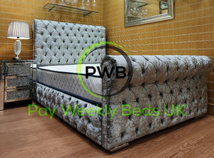 Pay Weekly Beds UK Full chesterfield crushed velvet bed finance grey silver black cream black pink