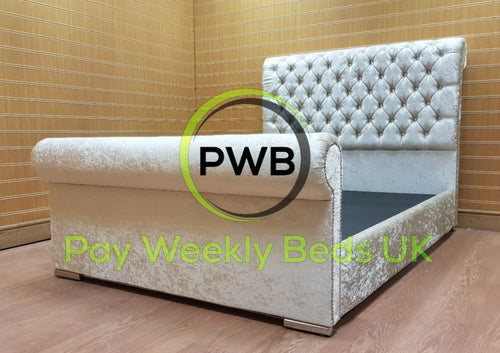 Pay Weekly Beds UK Crushed Velvet Bed Finance Pay Weekly Sleigh Bed Silver Crushed Velvet Grey Black