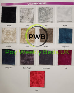 Pay Weekly Beds UK Glitter Crushed Velvet Bed on Finance