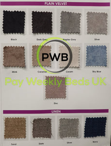 Pay Weekly Beds UK Plain Velvet Linen Fabric Bed Finance