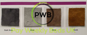 Pay Weekly Beds UK soft plush velvet bed silver dark grey steel mink gold baby pink blush velvet bed