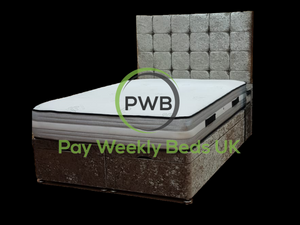 Pay Weekly Beds UK Crushed Velvet Ottoman Storage Bed Aztec Bed Finance
