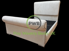 Load image into Gallery viewer, Pay Weekly Beds UK Chenille Sleigh Bed Finance Cream Fabric