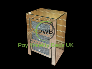 Pay Weekly Beds UK Payment Plan Mirror Furniture 3 Drawer Glitter Bedside Cabinets Finance