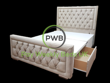 Load image into Gallery viewer, Pay Weekly Beds UK Hampton Drawer Divan Bed Naples Plain Velvet Storage Bed Finance