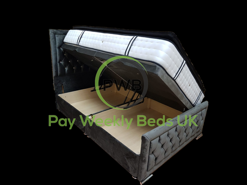 Pay Weekly Beds UK Hampton Side Lift Storage Bed Finance Plush Velvet Right Hand Side Left Hand Side