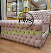 Load image into Gallery viewer, Pay Weekly Beds UK Sleigh Bed Finance Chesterfield Sledge Scroll Plush Velvet Blush Pink Silver Grey