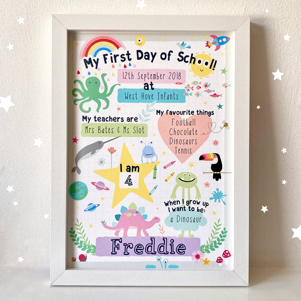 Starting School Personalised Art print