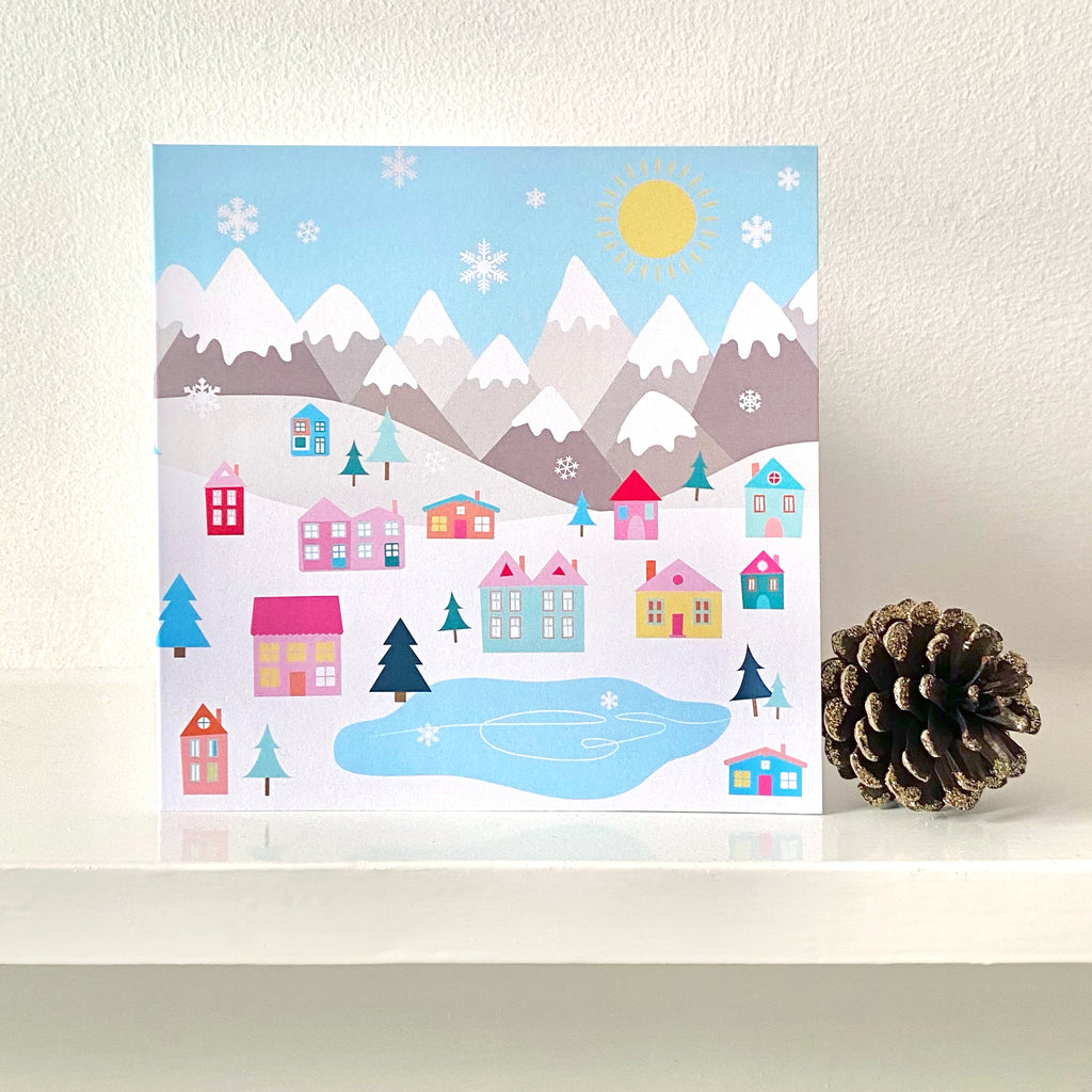 Winter Houses Greetings Card