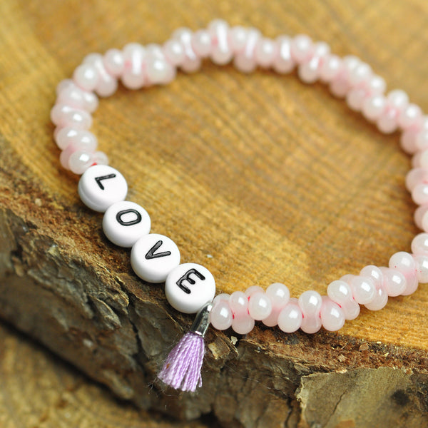 "Sprucharmband ""Love"" rosa/violet / Farfalle rosa / Armband personalisiert"