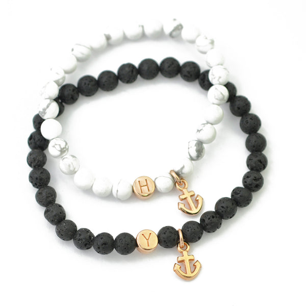 "Partnerarmband Set ""Black & White"" rosé"