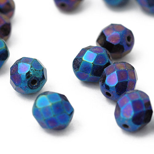 Preciosa Glasschliffperle metallic blue / 8mm