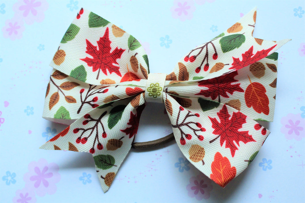 Fall Farmhouse Burlap Style Pinwheel Hair Tie Bow