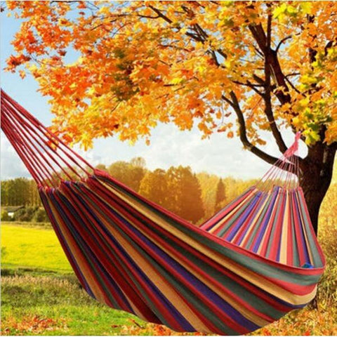 280 x 100cm 150kg Weight Load Canvas Hammock Casual Stripe Beach Swing Single Bed for Outdoor Camping Travel Red