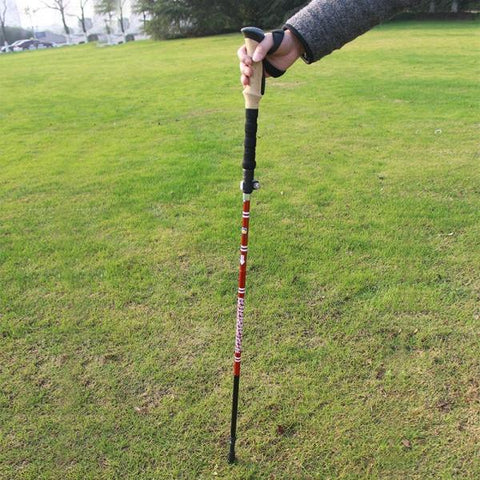 AOTU EVA 5-section Folding Aluminum Alloy Stick Ultralight Outdoor Climbing Walking Handle Telescopic Crutch Red