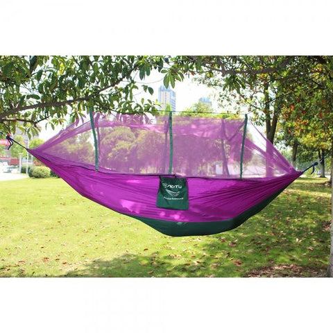 AT6730 Nylon Parachute Fabric Double Hammock with Anti-mosquito Mesh Roof Purple & Green Black