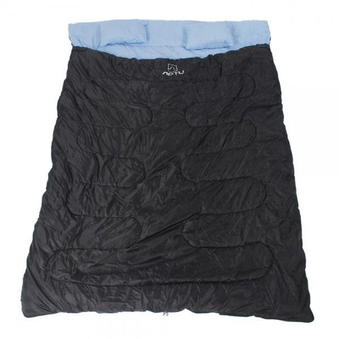 "86"" x 60"" Camping Waterproof Envelope Style 2 Person Sleeping Bag with 2pcs Pillows -5?~25?"