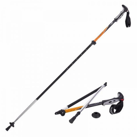 Naturehike 4 Section Trekking Pole Folding Walking Stick Camping Ultralight Aluminium Alpenstock Orange