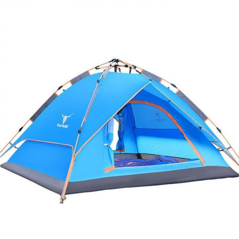 Double Layers Camping Camp Tent Outdoor Waterproof for 4 Persons Blue