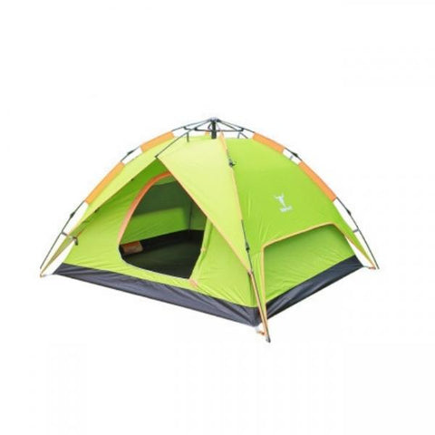 Double Layers Camping Camp Tent Outdoor Waterproof for 4 Persons Green