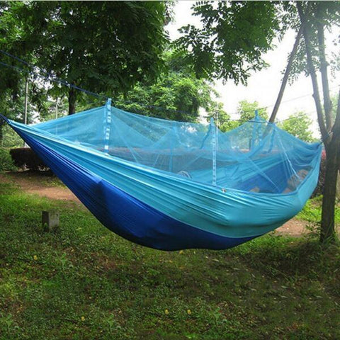 Portable 1-Person Hammock with Anti-Mosquito Net for Travel Camping 250 x 130cm Sky Blue & Blue