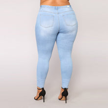 Plus Size Ripped Stretch Slim Denim