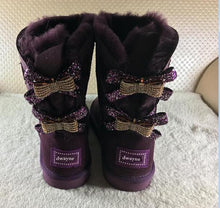 Rhinestone Bow Winter Snow Boots