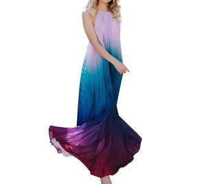 Pleated Ombre Halter Maxi Dress S-XL