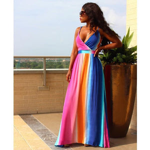 Rainbow Spaghetti Strap Empire Waist Dress S-XL