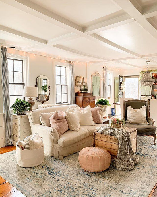Andrea's Beautiful Cozy Home in Massachusetts featuring our Natural Moroccan Pouf | Ottoman