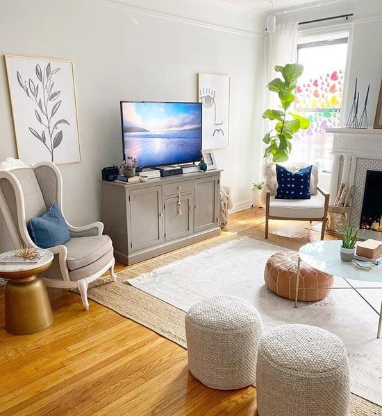 Nicole's Modern Boho Home in New York featuring our Light Caramel Brown Moroccan Pouf | Ottoman