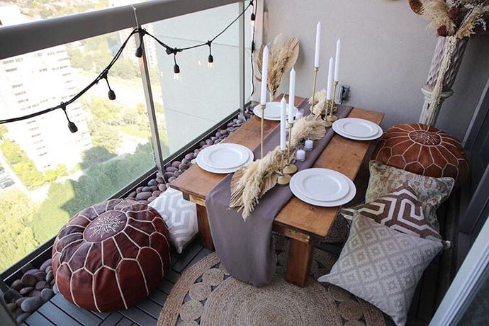 Manal's Boho Inspired Balcony Makeover in Toronto Featuring Our Caramel and Mahogany Poufs