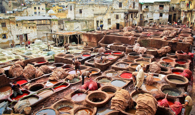 Moroccan Leather Tannery in Fes for moroccan poufs