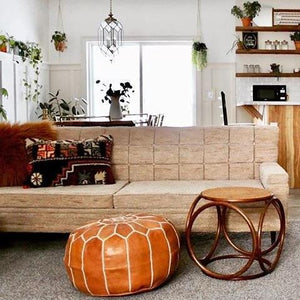 brown tan leather moroccan pouf ottoman